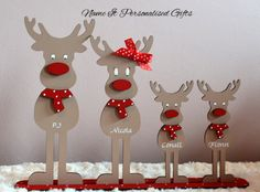 Freestanding Reindeer Family of 4 Christmas Sign 6mm thickness mdf 30cm wide 22cm high Wording of your choice i.e. Dad Mam/Mum and childrens