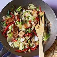 Ginger Pork & Cabbage Stir-Fry  Possibly could use chicken instead
