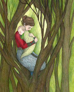 """Lullaby"" Hans-My-Hedgehog Illustrations: Original Artwork by Jessica M. Boehman - Color & Mixed Media"