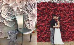 Flores gigantes de papel para decorar casamento