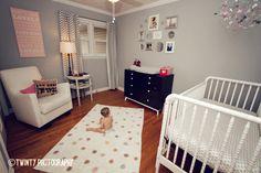 Modern grey and pink Nursery
