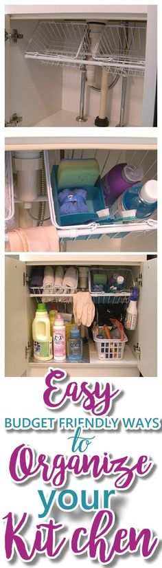 EASY Budget Friendly Ways To Organize Your Kitchen - The very best CHEAP, quick . EASY Budget Friendly Ways To Organize Your Kitchen - The very best CHEAP, quick tips, space saving tricks, clever hacks and organizing ideas Kitchen Organization, Organization Hacks, Kitchen Storage, Organizing Ideas, Bathroom Storage, Bathroom Ideas, Bathroom Small, Bathroom Sinks, Organizing Drawers