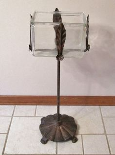 Gorgeous Vintage/antique Art Deco Square Fish Bowl W/ornate Cast Metal Stand Nr