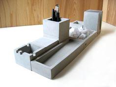 Schreibtisch-Set aus Beton // Desk organizer made of concrete by formfreunde via DaWanda.com