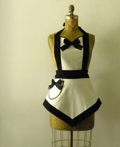 The Veronica Apron by sugarnspiceaprons It's even named after me! Might need to get this to help me out in the kitchen and distract my bf from my cooking if it doesn't turn out so well! French Maid Uniform, Black And White Fabric, Black Tie, Cute Aprons, Sewing Aprons, Aprons Vintage, Cool Costumes, White Fabrics, Diy Clothes