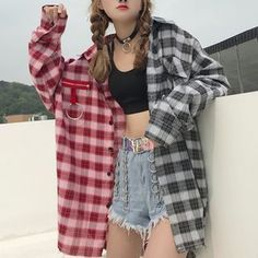 flannel fall outfits style tips how to wear your favorite shirt 34 ~ Modern. - flannel fall outfits style tips how to wear your favorite shirt 34 ~ Modern House Design - Grunge Outfits, Kpop Outfits, Edgy Outfits, Korean Outfits, Mode Outfits, Cute Casual Outfits, Fall Outfits, Fashion Outfits, Long Shirt Outfits