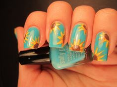 "Jessica's Nail Art: ""Sunflowers in the Sky"" freehand."