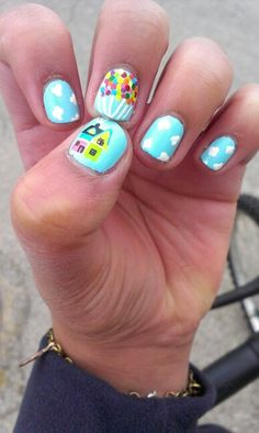 "Disney ""Up"" nails. (Left hand)"