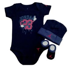 Nike Jordan Infant New Born Baby Boy/Girl Shoulder Bodysuit, Booties and Cap 0-6 Months One Set 3 Piece Set - *** PLUS A FREE GIFT CELL PHONE ANTI-DUST PLUG *** - Bibs & Burp Cloths - Baby - $29.99