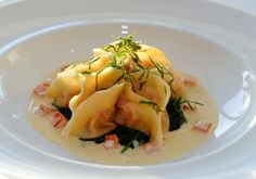 Ravioli of Blue Swimmer Crab with Spinach and Truffled Pecorino Sauce