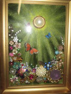 Vintage Rhinestone Jewelry Butterfly Garden Flowers Gold Framed Art …