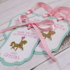 12 Carousel Favor tags PERSONALIZED Thank by GlitzandBowsbyJackie