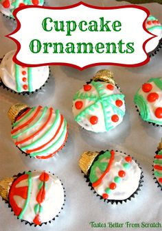 Christmas Cupcake Ornaments on MyRecipeMagic.com