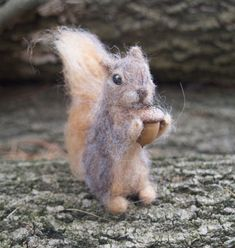 Needle Felted Squirrel Miniature Baby by ClaudiaMarieFelt on Etsy