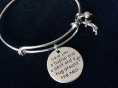 Love You a Bushel and a Peck and a Hug Around the Neck Charm Silver Expandable Adjustable Bangle Bracelet Gift