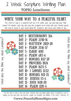 2 Week Scripture Writing Plan for Loneliness.