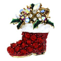 Red Crystal & Enamel Christmas Stocking with Holly Boot Brooch