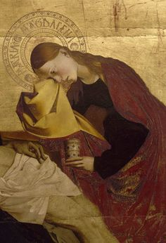 """Enguerrand Quarton (known from 1444 to 1466), (detail) St. Mary Magdalene from """"La Pietà de Villeneuve-lès-Avignon"""", France. École d'Avignon : Art movement that flourished in Avignon due to the presence of the popes of the early fourteenth century to the middle of the fifteenth century."""