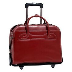 McKleinUSA Willowbrook Detachable Wheeled Ladies' Briefcase - Red
