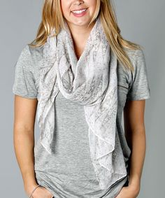 Take a look at this Pale Gray & Soft Pink Abstract Scarf today!