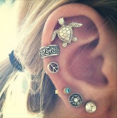 Cool and Unique Multiple Ear Piercing Ideas - 16G Vintage Silver Turtle Cartilage Earring at MyBodiArt.com - Boho Bohemian Summer Beach
