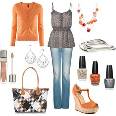 Same cute gray top as in another pin, but don't care...like this look and obviously love the top! ;)
