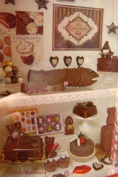 Chocolate shop - 1:12th scale dollhouse  styling  by Yuri Munakata