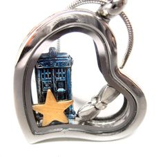 Doctor Who themed floating locket - Tardis, brass star, silver bowtie (or sneakers if you prefer!)