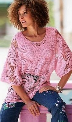 Pink crocheted tunic, spiral uhorom. Scheme for knitting crochet tunic                                                                                                                                                                                 More