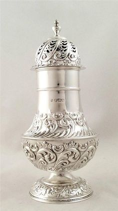 Antique hallmarked solid sterling silver sugar shaker/castor -1895