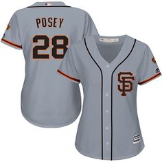 6d58b398e90 Women s San Francisco Giants  28 Buster Posey Grey Stitched Jersey from  eshop1959