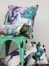 Printed cushions with velvet