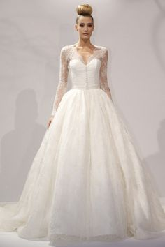 Dennis Basso for Kleinfeld - Bridal Fall 2013    TAGS:Embroidered, Floor-length, Long sleeves, Meringue, Cream, Dennis Basso for Kleinfeld, Lace, Silk, Tulle, Classic, Romantic