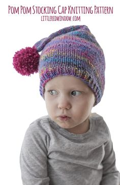 This basic pom pom stocking cap knitting pattern, complete with an adorable pom pom, is such a fun and easy baby hat to knit for your little on