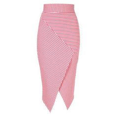 Jane Norman Pink Asymmetric Stripe Skirt ❤ liked on Polyvore featuring skirts, knee length pencil skirt, jane norman, pink pencil skirts, knee high skirts and pink skirt