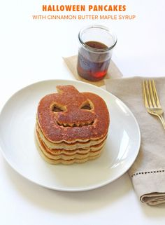 Halloween Pumpkin Pie Spice Pancakes with Cinnamon Butter Syrup
