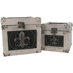 Distressed Gray Wood Boxes with Metal Fleur-De-Lis | Shop Hobby Lobby