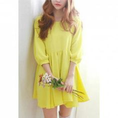 $10.04 Sweet Scoop Neck Puff Sleeve Solid Color Chiffon Dress For Women