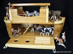 GIANT Heirloom Quality Noah's Ark Playset 16 Schleich Animals Bamboo Wooden NEW