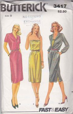 Butterick Sewing Pattern 3417 Misses Size 8 Easy Pullover Dress Button Front Bodice Strapless   Butterick+Sewing+Pattern+3417+Misses+Size+8+Easy+Pullover+Dress+Button+Front+Bodice+Strapless