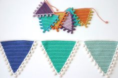 Crochet PATTERN: Bunting, Flags with Bobble Edging in various sizes - with Photo Tutorial Crochet Bunting Pattern, Crochet Placemat Patterns, Crochet Garland, Granny Square Crochet Pattern, Crochet Stitches Patterns, Mini Bunting, Mini Flags, Bunting Flags, Triangle En Crochet