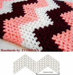 Best 8 Herringbone, Zig Zag Crochet Stitches for Free. V Stitch Crochet, Zig Zag Crochet, Crochet Ripple Blanket, Crochet Bedspread, Crochet Motifs, Crochet Diagram, Crochet Stitches Patterns, Tapestry Crochet, Crochet Chart
