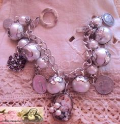 Vintage and New Catholic Virgin Mary, Saints, Medals Religious Charm Bracelet www.letyscreations.com #catholic #virginmary #vintagemedals #pearls