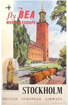 size: Giclee Print: Fly Bea When in Europe, Stockholm Travel Poster : Artists Stockholm Travel, Stockholm Sweden, British European Airways, Vintage Travel Posters, Vintage Airline, Vintage Ads, Vintage Signs, Jr Art, Wall Art Prints