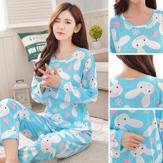 fb8e908801 2Pcs Women s Cartoon Sleepwear Pajamas Set Long Sleeve Cotton Nightwear  Homewear