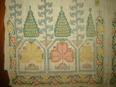 19th C Large Antique Ottoman Turkish Hand Embroidery on Linen 'Yaglik' 2 | eBay