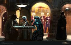 """phattro: """" -Star Wars: The Cantina- This is a rough sketch I did for """"Star Wars: Commander"""" game from Disney Interactive. The final looks nothing like this. But I really like this sketch because I feel it reflects the McQuarrie SW both in tone and. Star Wars Film, Star Wars Rpg, Tolkien, Tableau Star Wars, Cyberpunk, Chasseur De Primes, Edge Of The Empire, Imperial Assault, Imperial Agent"""