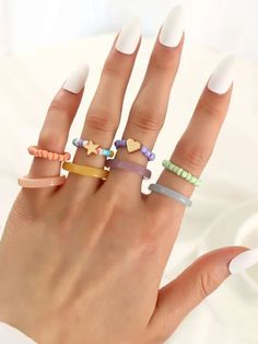 Stylish Jewelry, Cute Jewelry, Birthday Party For Teens, Star Decorations, Resin Ring, Vide, Cute Nail Designs, Types Of Rings, Bangles