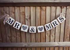 A FABULOUS MR & MRS AND SAVE THE DATE RUSTIC COMBO... (can be purchased separately also)+ add a name hand stamped chipboard banners with vintage