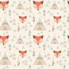 Cute tribal geometric seamless pattern in cartoon style with fox, wigwams, arrows and feathers for fabric and web backgrounds Wallpaper Iphone Cute, Cute Wallpapers, Wallpaper Backgrounds, Wallpaper Downloads, Pattern Wallpaper, Fox Pattern, Pattern Design, Dibujos Baby Shower, Fox Background